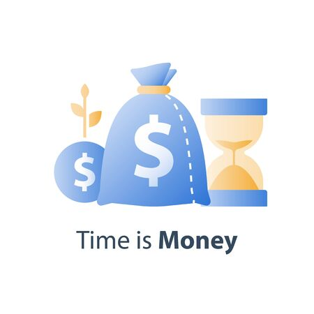 Pension savings fund, long term investment strategy, hourglass and bag, time is money concept, capital growth, asset allocation, financial value increase, future planning, vector icon
