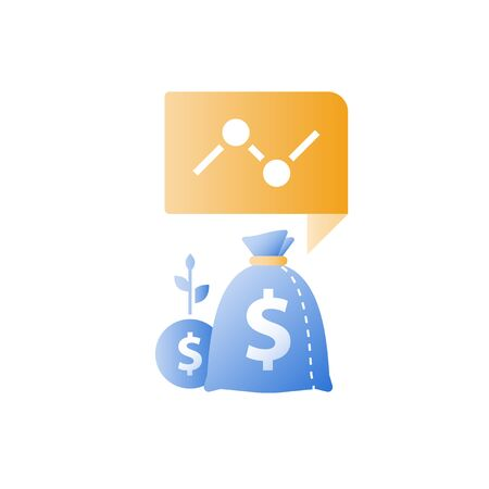 Financial report, invest portfolio, hedge fund, revenue growth, more money, high interest rate, multiply capital, added value, savings deposit, asset allocation, vector icon Stockfoto - 128586184