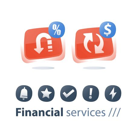 Cash back, money return, finance service, currency exchange, interest rate, commission fee, quick loan, refinance concept, credit payment installment, financial solution, investment revenue, flat icon