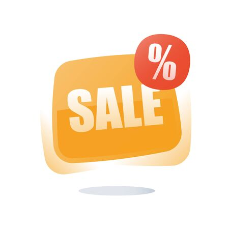 Big sale, percentage sign red button, discount store label, special offer tag announcement, season clearance low price, best deal, black Friday, buy now poser, vector icon, flat illustration Ilustração