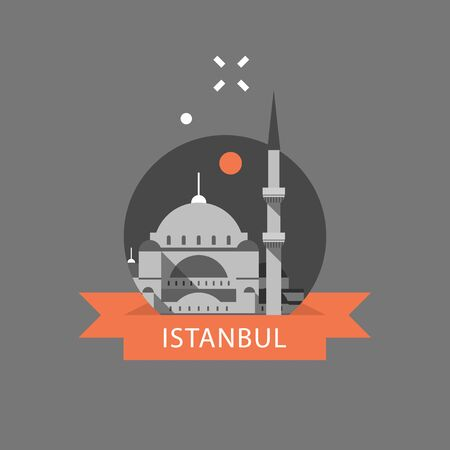 Turkey travel destination, Istanbul symbol, Sultan Ahmed Mosque or Blue Mosque, famous landmark, tourism concept, culture and architecture, vector icon, flat illustration Imagens - 128586278