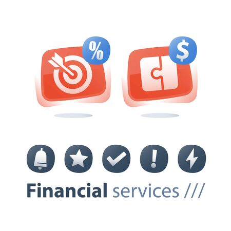Financial solution, investment strategy, puzzle piece, target arrow, cash loan, payment installment, provide money, vector flat icon