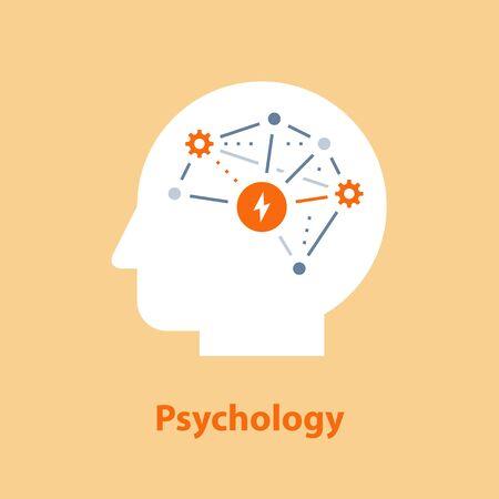 Decision making, emotional intelligence, positive mindset, psychology and neurology, social skills, behavior science, creative thinking, human head, learning concept, vector icon, flat illustration