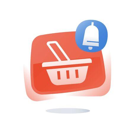 Shop basket, abandoned cart concept, online shopping button, marketing and promotion, limited offer, best deal, loyalty program, sales improvement, vector flat icon Illustration