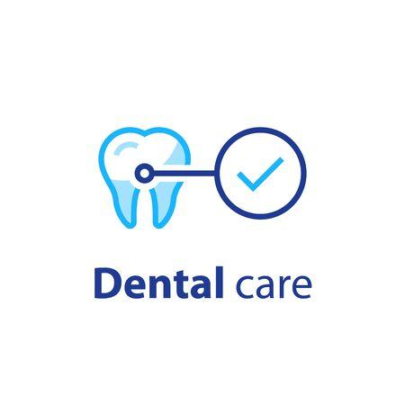 Dental care, prevention check up, hygiene and treatment, stomatology services, vector icon set Vettoriali