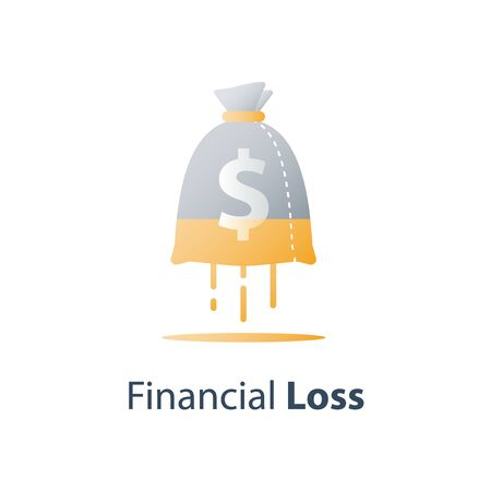 Sunken cost concept, money loss, debt increase, lack of finance, financial waste, investment hedge fund, wealth devaluation, income decrease, high risk, vector icon Stockfoto - 128586291