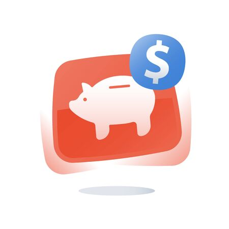 Piggy bank, pension savings account, superannuation payment, retirement financial planning, earn points, loyalty program, income and budget, vector flat icon Illustration