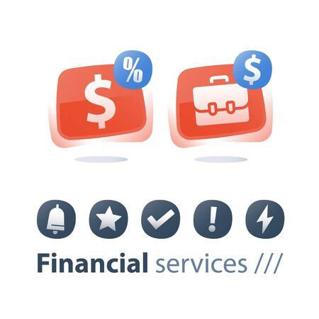Investment portfolio, mutual fund, finance account and management, new business planning, stock market, hedge fund dividends, cash loan, financial service, vector icon set, flat button Stockfoto - 128586315