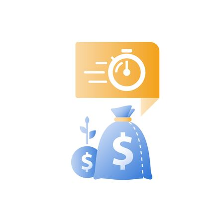 Stopwatch and bags, time is money, fast loan, quick credit, payment period, savings account, financial benefit, vector icon Illustration
