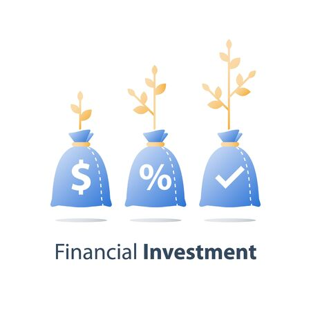 Income increase, revenue growth, high interest rate, financial budget, earn more money, raising capital, invest fund portfolio, business profit, long term investment, plant stem, vector icon  イラスト・ベクター素材