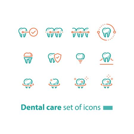 Dental care, prevention check up, stomatology services, teeth braces, cleaning and whitening, implant and crown, protection concept, vector line icon set, linear design