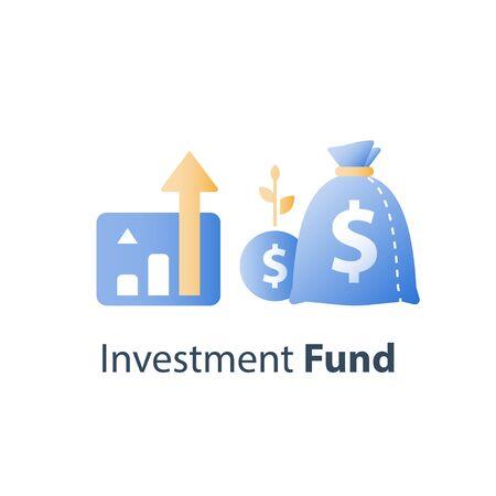 Informe de crecimiento financiero, gestión de fondos, aumento de ingresos, retorno de la inversión, tasa de interés, ganar dinero, estrategia de mercado de valores, icono de vector Ilustración de vector