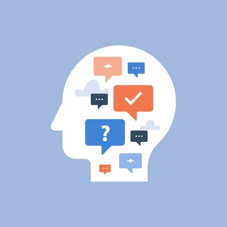Concept de communication, enquête et questionnaire, chat bot, mentor et conseils, icône vectorielle, illustration à plat