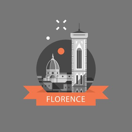 Italy, Florence symbol, travel destination, famous landmark, cathedral and tower view, tourism concept, vector icon, flat illustration