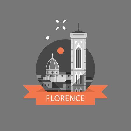 Simbolo dell'Italia, di Firenze, destinazione di viaggio, punto di riferimento famoso, vista della torre e della cattedrale, concetto di turismo, icona di vettore, illustrazione piana Vettoriali