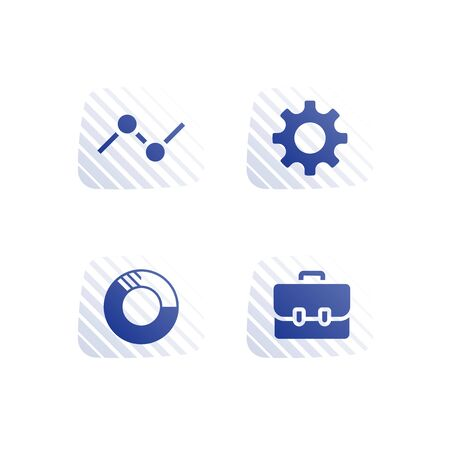 Investment portfolio, mutual fund, finance account and management, new business planning, stock market, hedge fund dividends, cash loan, financial service, vector icon set, flat button