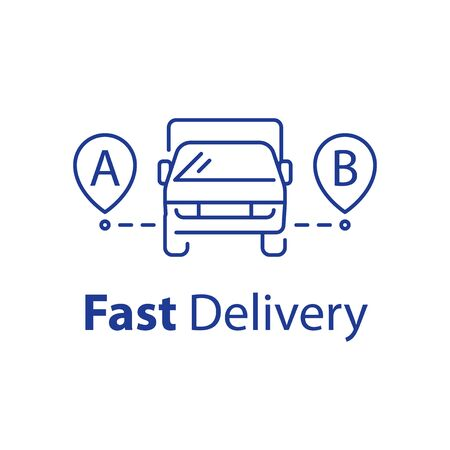 Fast delivery line icon, transportation vehicle front view, easy relocation arrangement, rental truck, convenient services, vector linear illustration