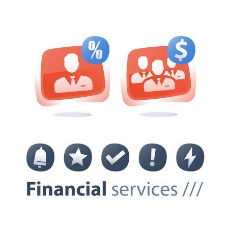 Unternehmensservice, Investmentfondsmanagement, Finanzkonto, kleines und großes Unternehmen, Wachstum und Konsolidierung, Einzelunternehmer, Unternehmensakquisition, Schulungskurs, Investorendividende, flache Symbole Vektorgrafik