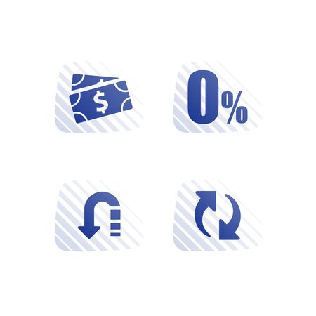 Cash loan, zero commission, interest rate, mortgage payment installment, financial service, save money, refinance concept, currency exchange, cheap credit, vector flat icon Illustration