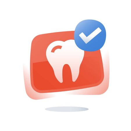 Teeth whitening, dental care concept, prevention check up, hygiene and treatment, tooth cleaning, stomatology services, vector icon, flat illustration