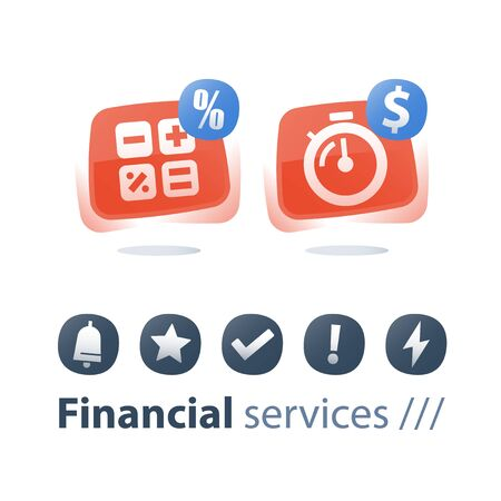 Quick cash loan, time is money, stopwatch and dollar sign, mortgage payment installment, calculate expenses, interest rate, long term investment, micro loan concept, vector flat icon Stock Vector - 128586424