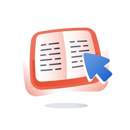 Esercizio del libro di testo aperto, apprendimento della materia, contenuto educativo, incarico scolastico, corso di studio, lettura veloce, scrittura creativa, revisione delle conoscenze, grammatica, preparazione all'esame, icona piatta