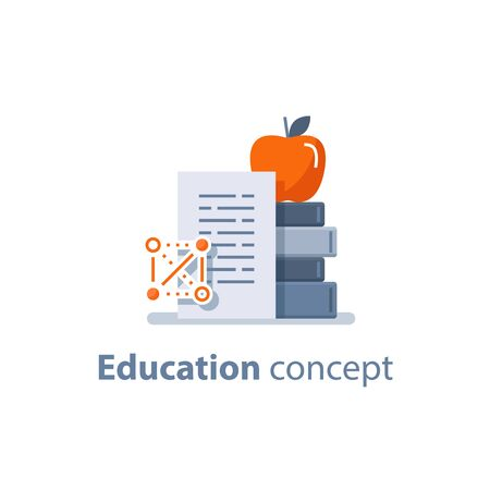 Education concept, learning course, stack of books and apple on top, accomplishment, vector flat icon Ilustracja