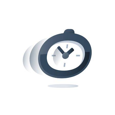 Upływ czasu, stoper w ruchu, odliczanie terminu, pilny termin dostawy, szybka obsługa, szybka ankieta, termin rejestracji, ikona wektora, ilustracja płaska
