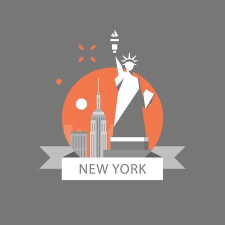 New York symbol, travel destination, famous landmark, statue of liberty, United States of America, English education concept, American language learning, vector icon, flat illustration Illustration