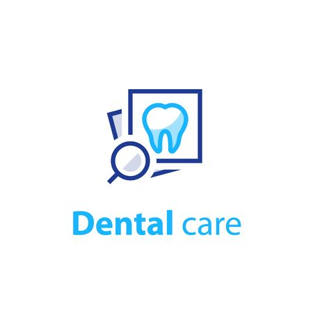 Dental care, prevention check up, hygiene and treatment, stomatology services, vector icon set