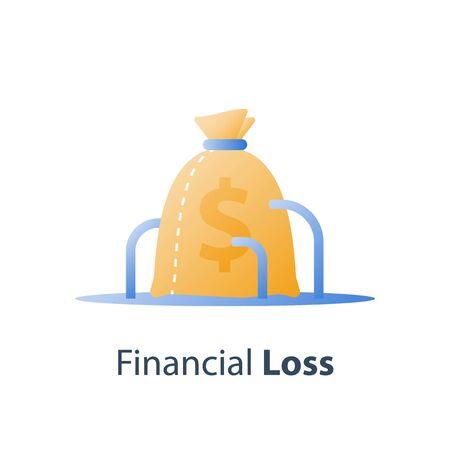 Sunken cost concept, money loss, debt increase, lack of finance, financial waste, investment hedge fund, wealth devaluation, income decrease, high risk, vector icon Stock Illustratie