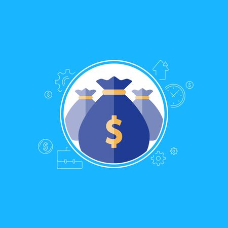 Banking services, financial dividends, return on investment, budget planning, money bag icon, income growth, pension fund, retirement savings account, superannuation, finance loan, vector illustration Illustration