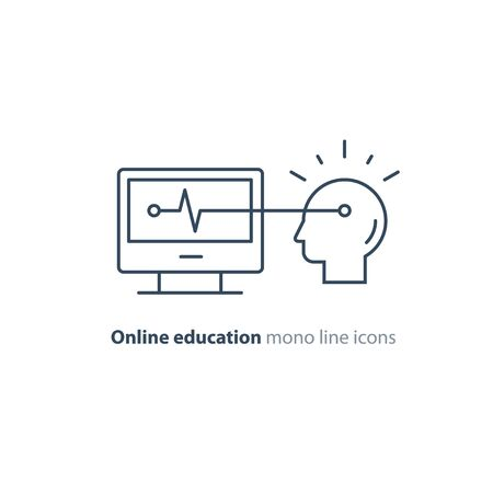 Online education concept, computer technology, artificial intelligence, vector mono line icon Stockfoto - 128586467