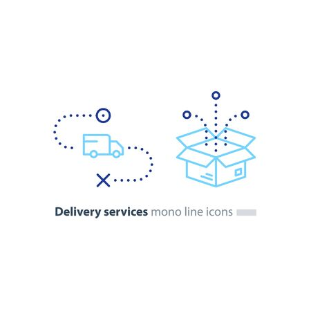 Delivery services, opened box, truck on the way, logistics and transportation, relocation concept, cargo shipment, distribution vector mono line icons