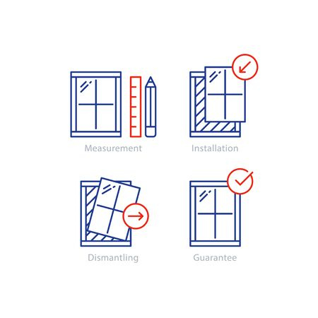 Window installation services, replacement steps, vector mono line icons set