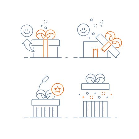 Surprising gift set, prize give away, emotional present, fun experience, unusual gift idea concept, opened box, line design icon, vector illustration