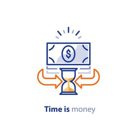 Servizi finanziari, il tempo è denaro, concetto di rimborso, ritorno sull'investimento, conto di risparmio, cambio valuta, icona della linea vettoriale