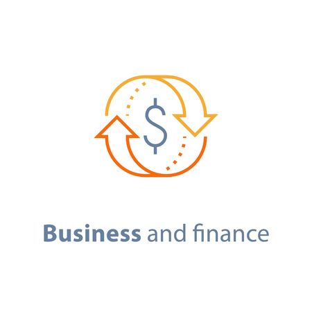 Currency exchange, cash back, quick loan, mortgage refinance, refund, insurance concept, fund management, business solution, finance service, return on investment, stock market, vector line icon Stock Vector - 128586539