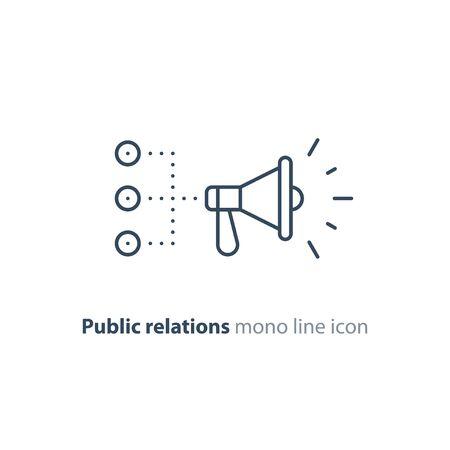Promotion plan, social media marketing concept, megaphone mono line icon, public relations vector illustration Vecteurs
