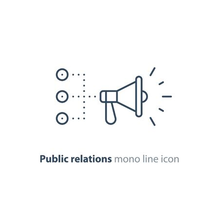 Promotion plan, social media marketing concept, megaphone mono line icon, public relations vector illustration