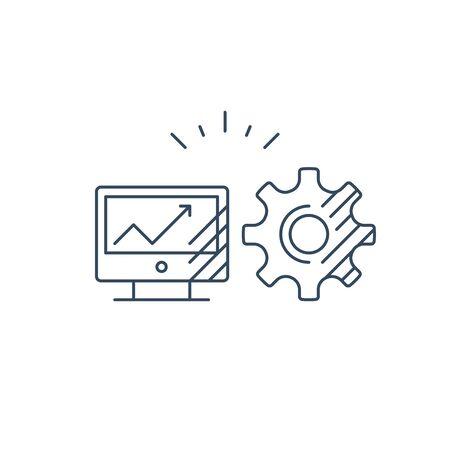 Desk top computer screen mono line icon, online business concept, web site design, internet technology vector Illustration
