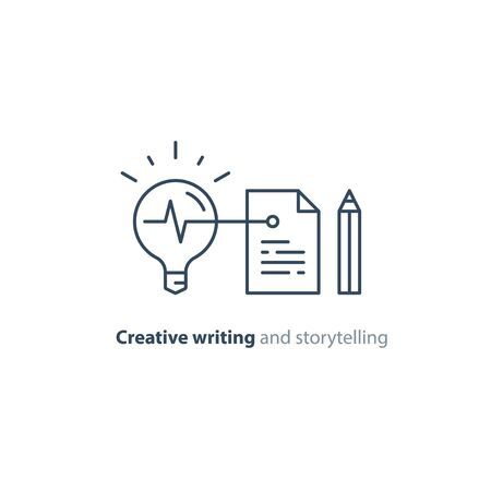 Creative writing and thinking concept, storytelling idea lightbulb, vector mono line icons