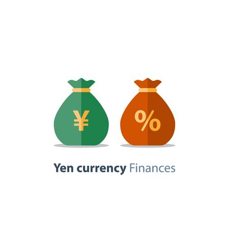 Japanese yen currency money bag, interest rate percentage sign, business and finance, return on investment, financial solution, prepayment and down payment concept, income tax, vector icon Stock Vector - 128586610