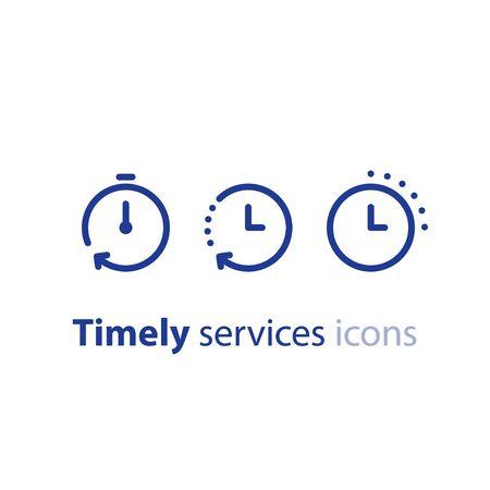 Logotipo de tiempo rápido, símbolo de cronómetro, concepto de período de tiempo, horas de trabajo, entrega rápida oportuna, servicios urgentes y urgentes, fecha límite y retraso, conjunto de iconos de línea vectorial Logos