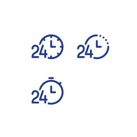Servizio 24 ore al giorno, logo fast time, simbolo del cronometro, concetto di periodo di tempo, orario di lavoro, consegna rapida e tempestiva, servizi espressi e urgenti, set di icone della linea vettoriale