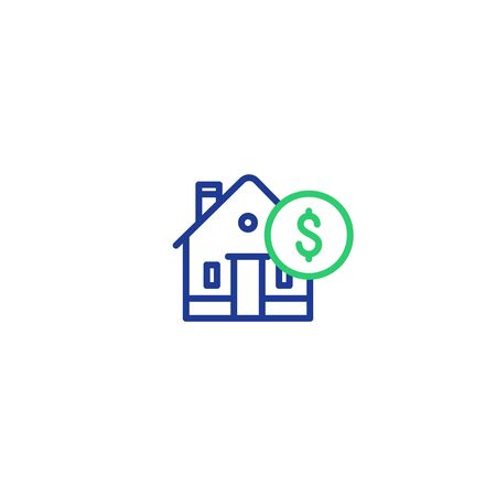 Real estate concept, house and coin mono line icon, mortgage money, home payment and insurance, living expenses vector Stock Vector - 128586636