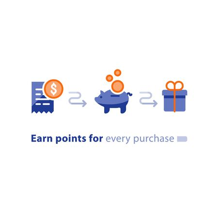 Earn points for purchase concept, loyalty program, cash back, marketing and promotion, reward gift, get bonus, vector flat icons