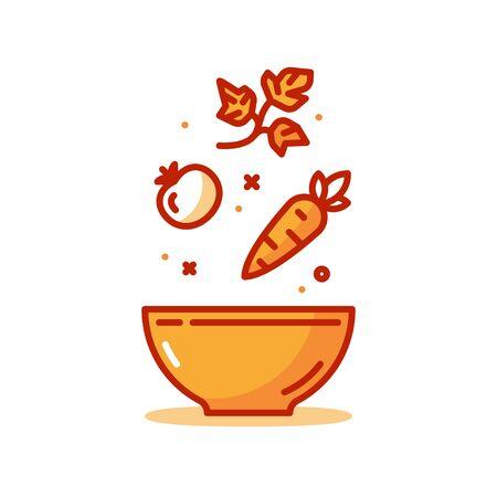 Vegetable salad recipe, eat healthy food, salad fresh ingredients in bowl, vector line icon