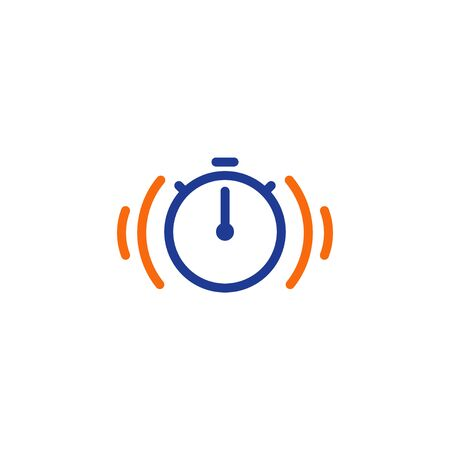 Fast time logo, stop watch symbol,  time period concept, working hours,  quick timely delivery, express and urgent services, deadline and delay, vector line icon Illustration