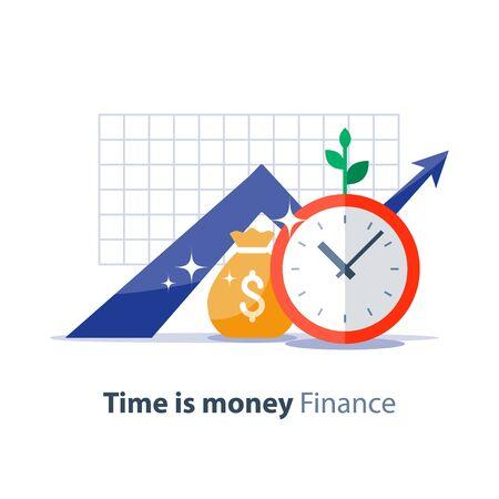 Grafico di crescita del reddito, borsa dei soldi e quadrante dell'orologio, grafico del ritorno sull'investimento, pianificazione del budget, il tempo è concetto di denaro, freccia in alto, risparmi dei fondi pensione, illustrazione della pensione, icona piana di vettore
